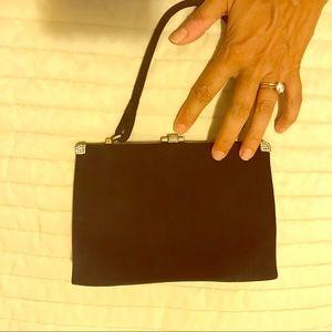 Vintage black suede small evening bag.